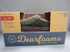 New in Box Dearfoams Mens Memory Foam Slippers Slip On Size S (7-8) Coffee/