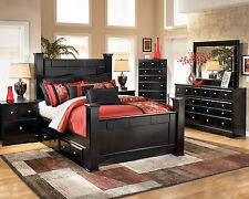 FRANCO-Modern 5pcs Almost Black Queen King Storage Poster Bedroom Set Furniture