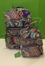 NWT Vera Bradley Large Campus Backpack With Lunch Box Bunch In Heather
