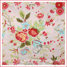 BonEful Fabric FQ Cotton Quilt Pink FLOWER Victorian Blue VTG Shabby Chic Toile