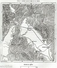 Carta: Antichi Laghi del Tevere e del Topino.Perugia.Assisi.Foligno.Bevagna.1876