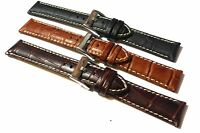 Alligator Grain Leather Watch Strap. Contrast Stitch. 18mm, 20mm, 22mm