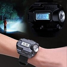 1000Lm Tactical CREE LED Display Rechargeable Wrist Watch Flashlight Torch