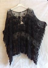 PLUS SIZE Ladies Italian Lagenlook Layering Batwing CROCHET BOXY Poncho Top Grey