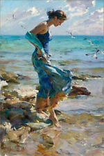 New Handcraft Portrait oil painting on canvas,Girl in the Water - Fave Thing