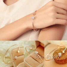Damen Schönes Glänzendes Kristall Strass Gold überzogene Herz Armband Schmuck