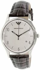 NWT Emporio Armani AR1880 Stainless Steel Gray Croco Band Leather Watch $195