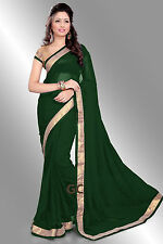 Green Bollywood Chiffon Plain Golden Border Party Wear Saree Sari BellyDance TOP