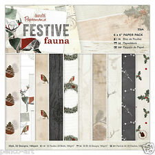 "Papermania 6x6"" scrapbooking paper 32 sheets Festive Fauna Christmas robin holly"