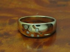 14kt 585 BICOLOR GOLD RING MIT BRILLANT & DIAMANT BESATZ / BRILLANTRING