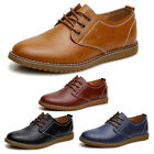 New Mens Leather Casual Oxfords Dress Shoes Flats Wingtip Lace Up Low Top Brogue
