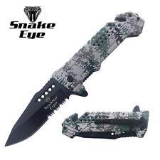 Snake Eye Tactical Action Assist GREEN Digital Camo Design Folding Pocket Knife
