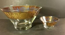 Chip And Dip Bowl Set Mid Century Retro 1960's Clear Heavy Glass with Gold Trim