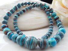 AAA 6-14mm Blue Turkey Turquoise Round Loose Beads Gem Necklace 18'' R-72