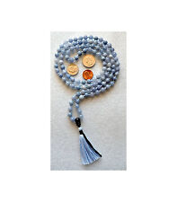 8 mm Blue Aventurine Hand Knotted Mala Beads Necklace  Optimism, Self Confidence