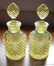 Elegant Pair of Antique 1930's Yellow Pattern Glass Perfume Bottles Miss America