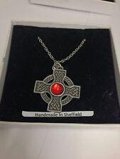 "Celtic Cross RED Gem ICCP Emblem on Silver Platinum Plated Necklace 18"""
