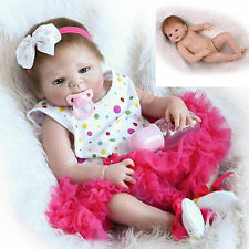 "22"" Girl Doll Handmade Full Body Silicone Reborn Baby Soft Newborn Kids Gift Toy"