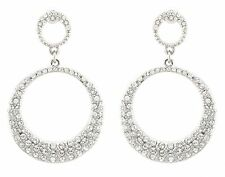Zest Swarovski Crystal Double Circle Earrings for Pierced Ears Clear & Silver