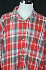 Bruno Men's 4XLB Big Tall Red Blue Plaid Flannel Long Sleeve Button Down Shirt