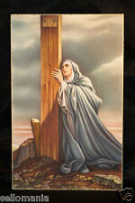 ESTAMPA VIRGEN MARIA EN LA CRUZ VIRGIN MARY CRYING ON THE CROSS HOLY CARD CCER26