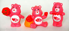 Set 3 Vintage Care Bear PVC Toy MINI Figure Miniature COMPLETE Pose LOVE A LOT