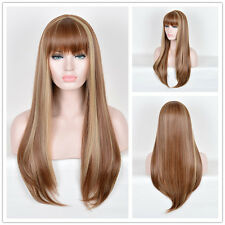 Blunt Bangs Long Wigs Straight Brown Mixed highlights Hair Women Full Wigs