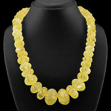 1058.00 CTS NATURAL UNTREATED RICH YELLOW CITRINE ROUND CARVED BEADS NECKLACE