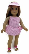 """Cotton Swimsuit, Visor and Sandals made for 18"""" American Girl Doll Clothes"""