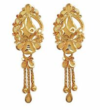 Indian Handmade Solid 22K 22 Carat Yellow Gold Hanging Chain Design Earring(887)