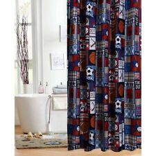 Shower Curtain For Boys Fabric Teens Multi Sports Blue Red Patchwork Bathroom