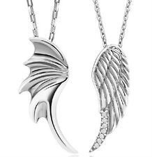 SF11 Demon's & Angel's Wings w/CZ Pendants 925 Sterling Silver Couple Necklaces
