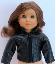 """BLACK Leather-Look DOLL JACKET / COAT fits 18"""" AMERICAN GIRL Doll Clothes"""