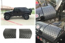 2007-2016 Jeep Wrangler Pair Black Diamond Plate Cowl Body Armor Cover Trim