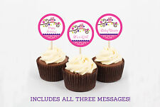 Girl Owl Blossom Pink & Purple Printable Cupcake Toppers Party Favor Tags