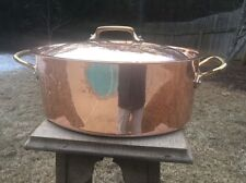 """Mauviel 7.9 Qt. Williams Sonoma 15.75"""" Copper Stew Stock Pan Pot Stainles Lining"""