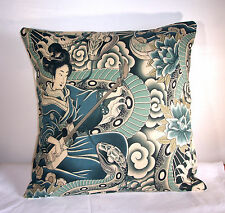 "NEW ALEXANDER HENRY BLUE JAPANESE ZEN CHARMER SKULLS  CUSHION COVER 16""x16"