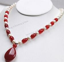 """Fashion 7-8mm White Akoya Cultured Pearl/Ruby pendant(20x30mm) Necklace 18"""""""