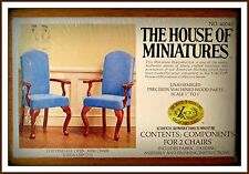VINTAGE DOLL HOUSE OF MINIATURES CHIPPENDALE OPEN ARM CHAIRS, 2 CHAIRS IN KIT