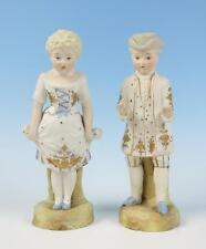 Antique PAIR German Bisque Boy & Girl Porcelain Figurines Couple Man Woman