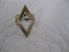 ANNA BECK Sterling Silver Gold Plated Pointed Top Bottom Ring - Size 7 - NICE