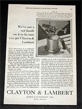 1928 OLD MAGAZINE PRINT AD, CLAYTON & LAMBERT, NO. 32 RED HANDLE BLOW TORCHES!