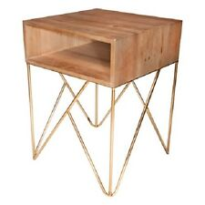 luxe side table / bedside table with copper /gold metal legs and wooden top
