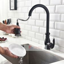 Single Handle High Arc Oil Rubber Bronze Pull Down Spray Kitchen Sink Faucet Tap