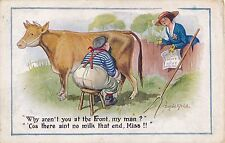 POSTCARD   COMIC   DONALD  McGIILL   Cow  At the Front....