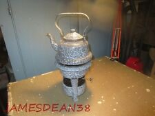GREY GRAY GRANITEWARE KEROSENE TABLE STOVE & TEAPOT TEA POT COFFEE