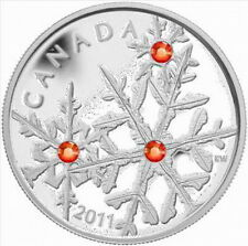 Canada 2011 Snowflake Red Crystal 20 Dollars 1oz Silver Coin,Proof