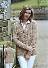 KNITTING PATTERN Ladies/Mens Long Sleeve V-Neck Cable Cardigan Aran KC 4626