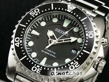 SEIKO PROSPEX KINETIC DIVER MENS WATCH 200M SKA371 SKA371P1 BLACK SS BAND wBOX
