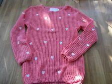 Bordado de Punto de algodón rosa salmón Corazones Diseño Puente. 9-10 años de edad.